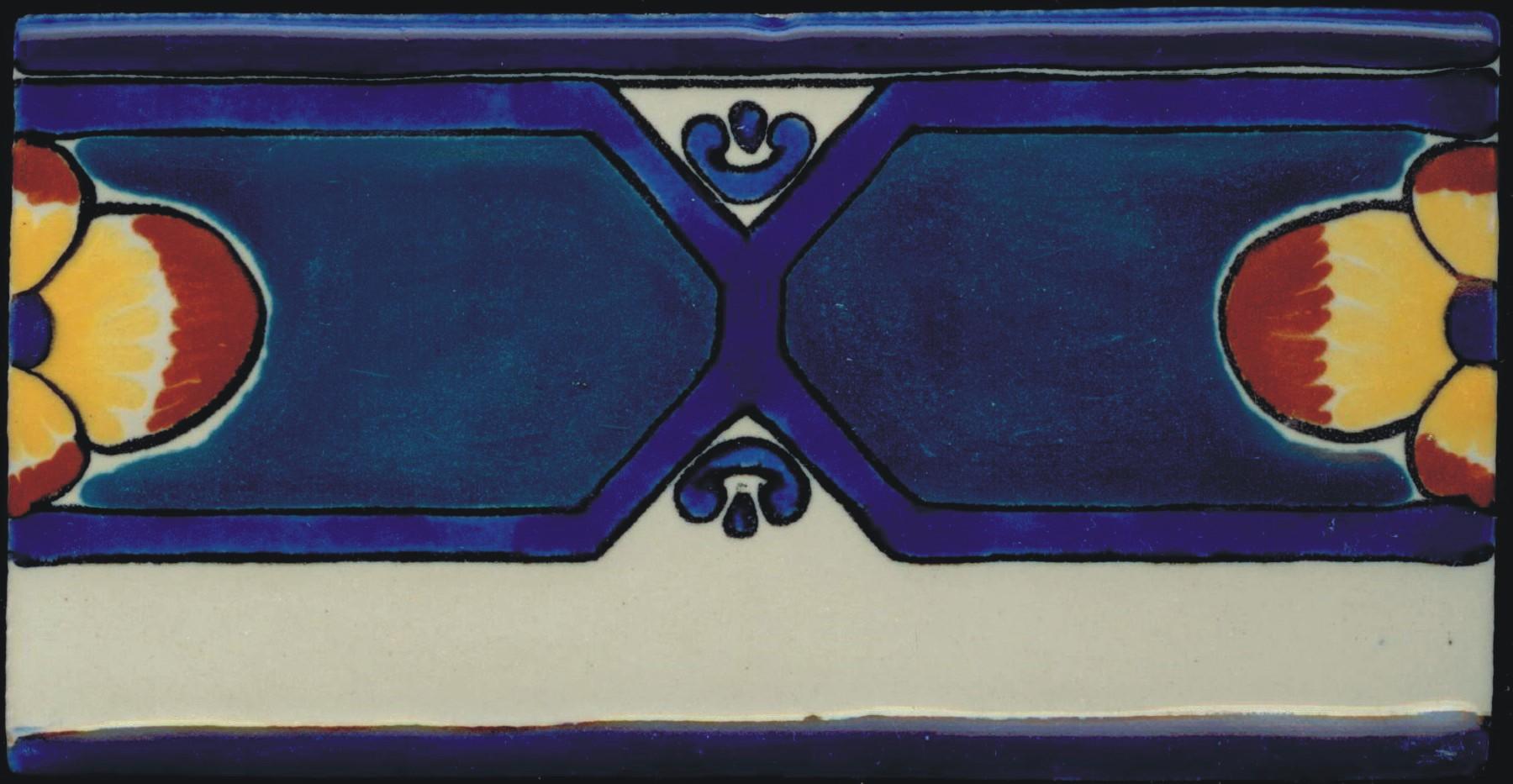 Colonial 12 Design 3×6″ Poblana Talavera Tile – Traditional Clay Body