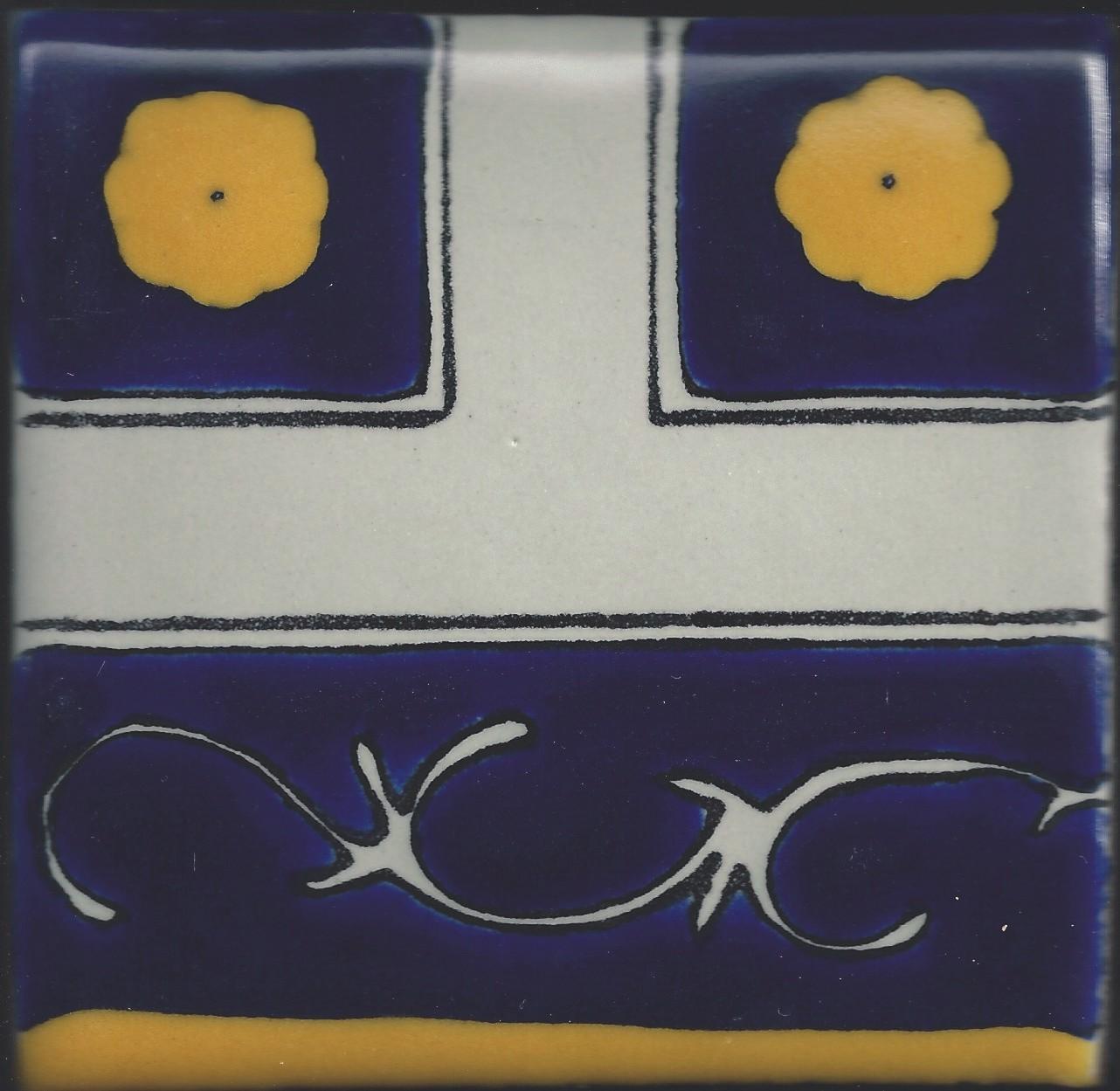 Colonial 7 Design 4″ Poblana Talavera Tile – Traditional Clay Body